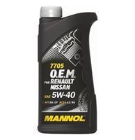 Масло моторное синтетическое 7705 O.E.M. for Renault Nissan 5W-40, 1л
